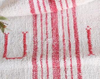 B 819: Sac de Grain antique lin, belle rouge FRANÇAIS, oreiller benchcushion 리넨, lin, 40,94 long, mariage, décoration