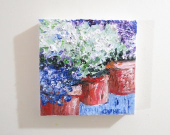 Hydrangeas Original Oil Painting White Blue-Oil 6x6-Canvas-Home Decor-Gift-Wedding Gift-Impasto-Spring-Cottage-Hydrangeas-ClayPots-Floral