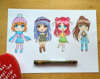 chibi girls art print
