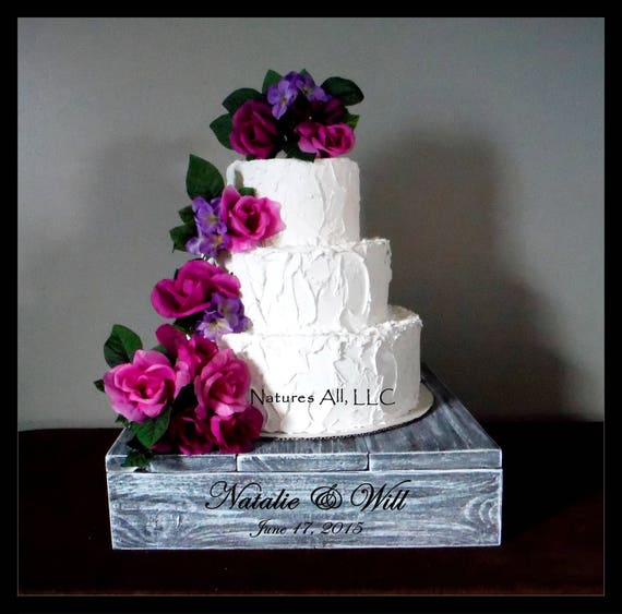 """16"""" Rustic Wedding Cake Stand/Personalized Option/Weathered Gray/Cupcake Stand/Country Wedding Decor/Rustic Cake Stand"""