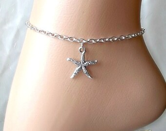 Starfish Anklet, Ankle Chain, Ankle Bracelet, Silver Anklet, Beach Jewellery, Body Jewelry, Foot Chain, Charm Anklet, Ocean, Sea, Marine