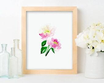 Peony Print - Pink Floral Art, Painted Pink peonies, Pink Nursery Florals, Farmhouse Style Art, Pink Watercolor, pink blooms, girls room art