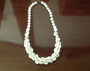 Vintage 1940's White Glass Bead Necklace