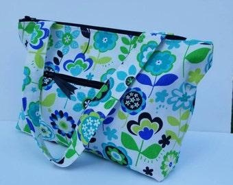 Zippered Canvas Shoulder Purse/Women Shoulder Bag/Canvas Handbag/Fabric Purse/Ikat Purse/Gift For Her