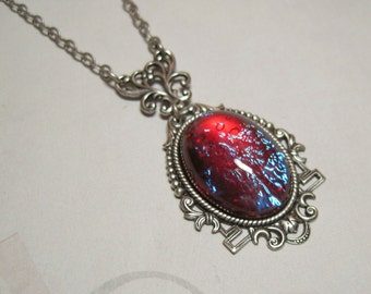 Mexican Opal Necklace Pendant Dragons Breath Fire Opal Jewelry Gift