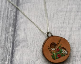 Mouse Necklace, Woodland Jewelry, Wood Jewelry, Mouse Pendant