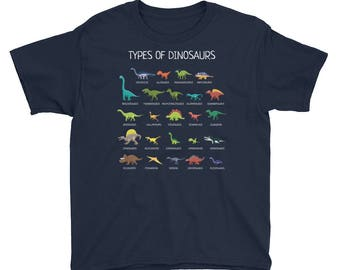 Types Of Dinosaurs T-Shirt For Kids