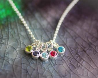 Birthstone Necklace - Birthstone Charm Necklace - Sterling Silver Birthstone Necklace  - Mom Necklace - Birthstone Jewelry -Mother's Jewelry