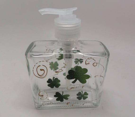 Hand painted St. Patrick's Day Soap or Lotion Dispenser with Green Clover and Golden Swirls