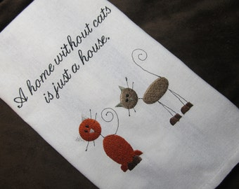 Cat Kitchen Tea Towel - Makes a Great Gift - Embroidered