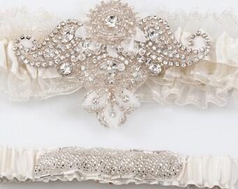 Wedding garter set Briana, statement bridal garter set, Ivory garter set, Beaded wedding Garter