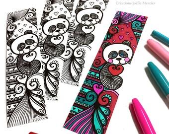 Panda bookmark coloring bookmark