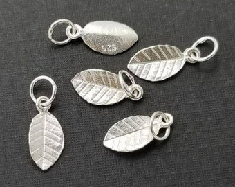 6 pcs, 925 Sterling Silver Tiny Leaf Pendant Charm with Bail, Handmade Findings,PC-0185R