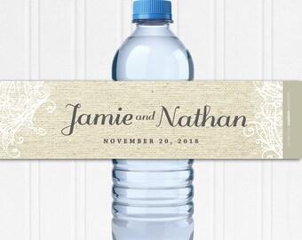 Custom Water Bottle Labels - Waterproof Labels - Custom Water Labels - Rustic Wedding Decor - Burlap