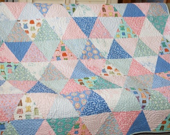 Modern Triangle Quilt  Blanket Bedding Moda Cape Ann in soft Pink White Blue Aqua Green with Flannel Backing READY TO SHIP