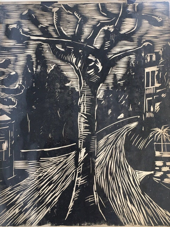 Emil Bizer (1881-1957) German expressionist woodcut of a tree signed in pencil and mounted