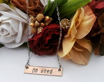 Hand Stamped Jewelry-Personalized-Copper Bar Rectangle-Copper Inspirational Word Bar Necklace-ASL-American Sign Language