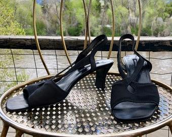 Vintage 90s Bruno Magli Shoes Size 9 - Black Open Toe Slingbacks