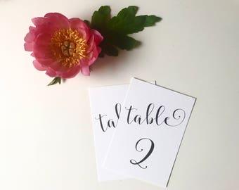 Black & White Calligraphy Wedding Table Number - Elegant Wedding Reception Decor - Modern Wedding Table Number