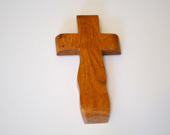 "Wood Wall Cross; Hand Held-4""x7""x1""; Handmade Crooked Cross;Made in Texas; Mesquite Wood; Christian Gift; Free Ground Shipping cc15-12010417"