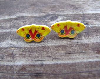 Io moth earrings, moth jewelry wearable art butterfly earrings butterfly jewelry post earrings insect earrings insect jewelry yellow