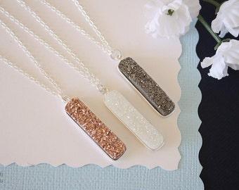 Silver Druzy Necklace, Druzy Bar Necklace, Thin Druzy Pendant, Copper Druzy, White, Gunmetal Pendant, Crystal Necklace, Natural Stone