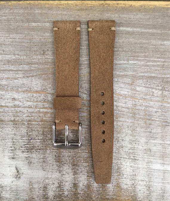 18/16mm VTG style Italian Calf watch band - Dark Sand