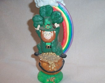 Vintage Ceramic Leprechaun St Patricks Day March Irish Figurine Statue