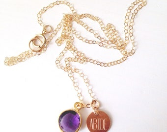 Abide with Amethyst Gold Necklace