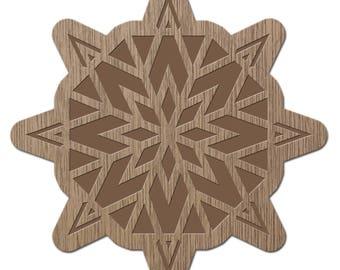 BARIUM - CRYSTALS - laser cut wood - brooch