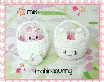 Mini Bunny Basket, crochet mini basket, mini Easter basket, little bunny basket, crochet Easter basket, Crochet basket, Tiny Bunny basket