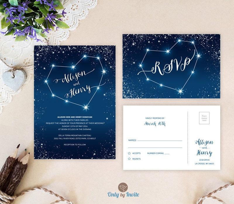 Starry night wedding invitations printed Heart constellation