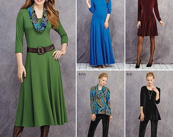Simplicity Pattern 1018 Misses / Miss Petite Knit Dress in Three Lengths, Tunic, Pants and Cowl