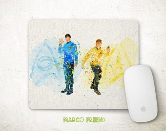 Star Trek Kirk and Spock Watercolor Art Mouse Pad - Mousepad - Office Decor - Gifts - Desk Decor - Watercolor  Paiinting - Accessorites - 74