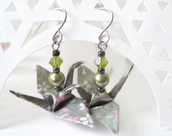 Origami Crane Earrings - Paper Earrings - Origami Jewelry - Paper Jewelry - Paper Crane Jewelry - WY09 - VonnesHandmadez