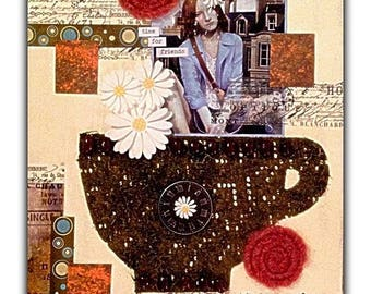 """Mixed Media Fine Art Collage ~ """"Time For Friends"""""""