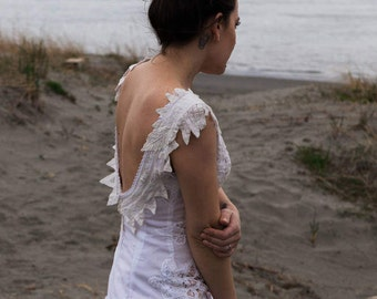 Hand Made One of a Kind  Dress/White Cotton Lace Wedding Dress/Battenburg lace dress/Short Wedding Dress/Alternative Wedding Dress