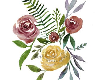 Flower Art, Floral Art, Wall Art, Home Decor , Sophie's flowers,  Easter, Watercolor Print, floral, Farmhouse Decor