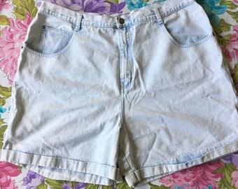Vintage High Waisted Denim Shorts Plus Size Stefano Light Wash Jean Shorts Mom Jeans