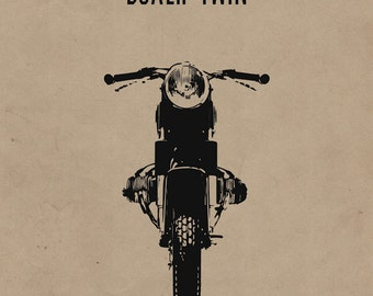 Boxer Twin Motorcycle Print