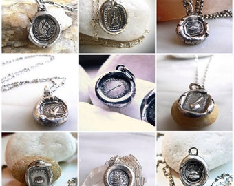 Wax Seal Jewelry, SHOP by MEANING. Wax Seal Talisman Message Necklaces, Inspirational Charm, Evil Eye, Good Luck Charm,Antique Jewelry