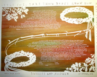 Wreath Crowns Papercut Ketubah - As You Like It - Hebrew calligraphy - wedding artwork