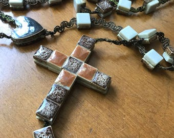Brown Tile Rosary Extra Large Religious Jewelry Devotional Gifts Under 30 Hearts  Handmade Catholic Gifts
