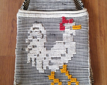 80s embroidered Rooster bag with wooden handle