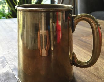 vintage brass tankard mug