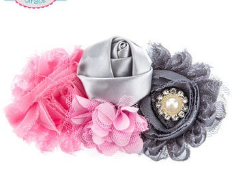 Light Pink & Gray Flower Collage Hair Clip Baby Girl