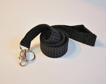Fabric Lanyard  ID Badge Holder -  Teacher lanyard - Binary 0 and 1 s for the computer geek - Black and grey - Breakaway safety clasp