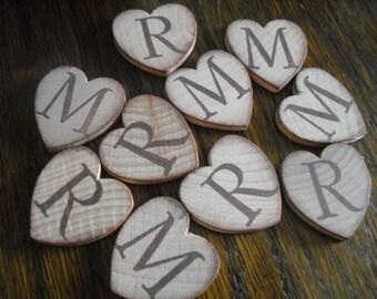SET OF 100 Wood Hearts Monogram Confetti - Item 1261