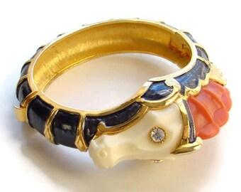 Hattie Carnegie Seahorse Dragon Pets on Parade Clamper Bracelet Thermoplastic Enamel Vintage Signed