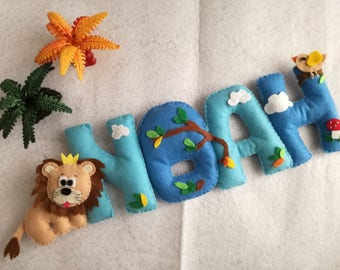 Noah banner name felt gift lion elephant forest animal fungus decoration Kids room handmade Mobile Banner Single cloud